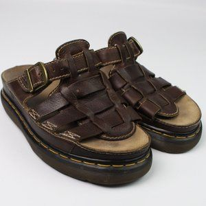 Dr. Martens leather woven slide sandal buckle